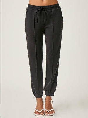 Pintuck Jogger in Black by Lanston