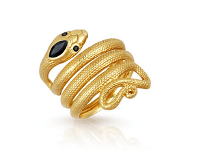 Uma Snake Ring in Gold with Sapphire by Temple of the Sun