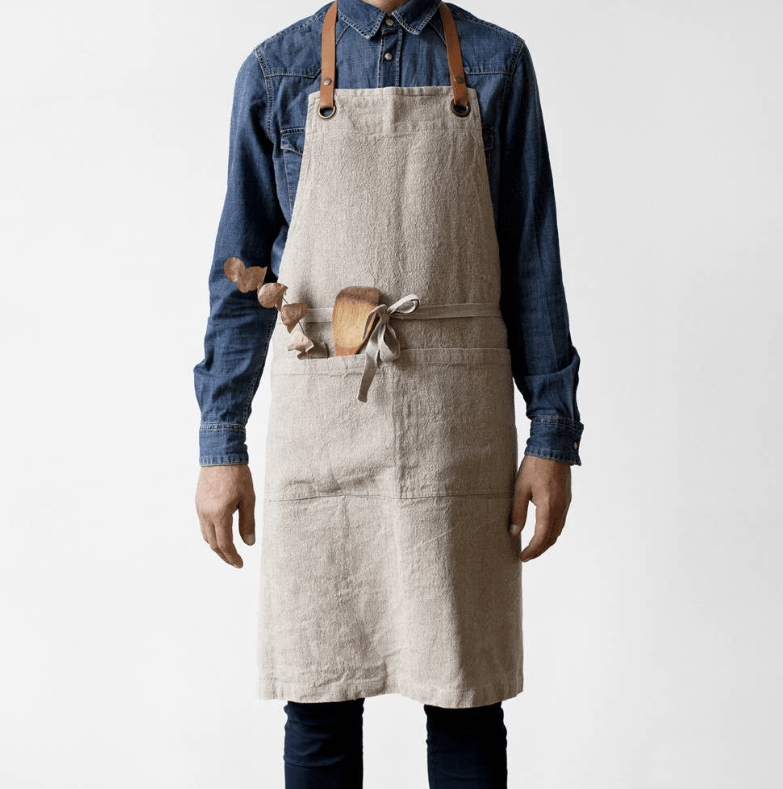 Natural Washed Luxury Linen Apron by Linen Tales