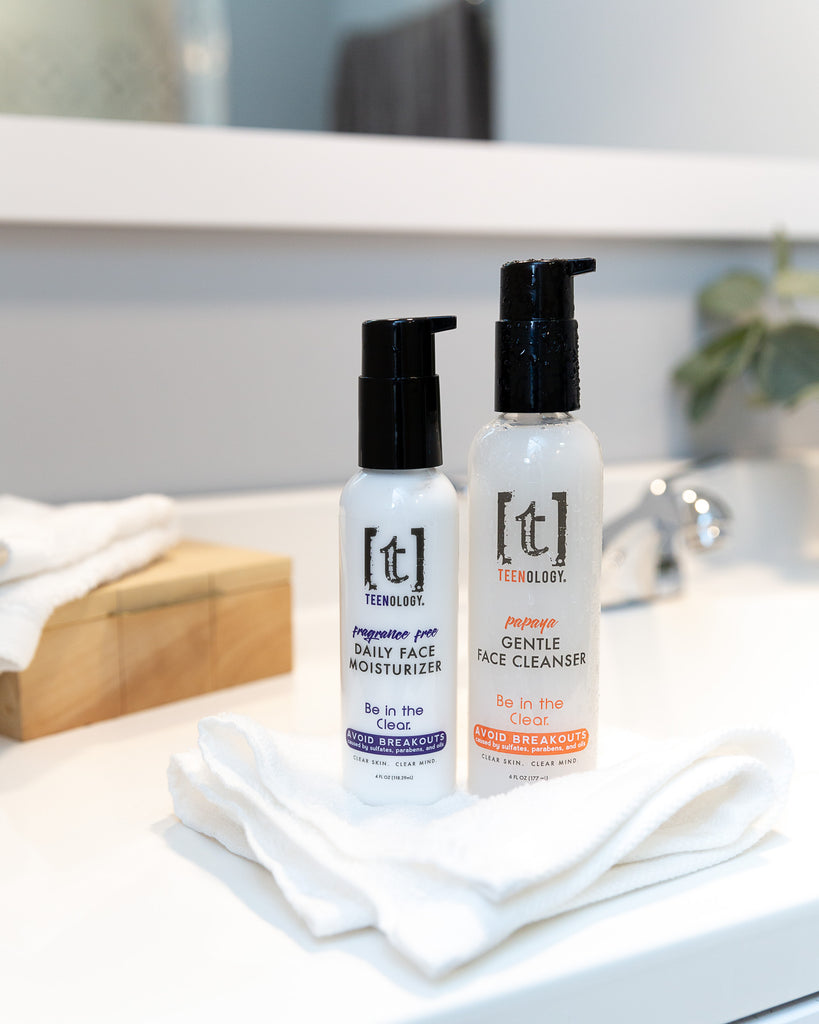two bottle: one of TEENOLOGY teen face moisturizer and one of TEENOLOGY gentle papaya face cleanser.