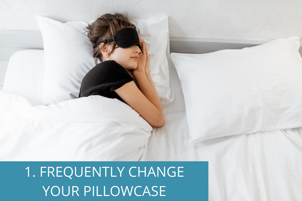 "Teenage girl sleeping with the overlay text, ""#1. Frequently Wash Your Pillowcase."""