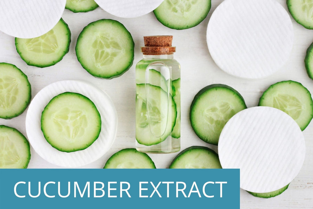 cucumber slices and a bottle of natural cucumber extract, which is found in the TEENOLOGY Blueberry-Pomegranate-Cucumber Shampoo