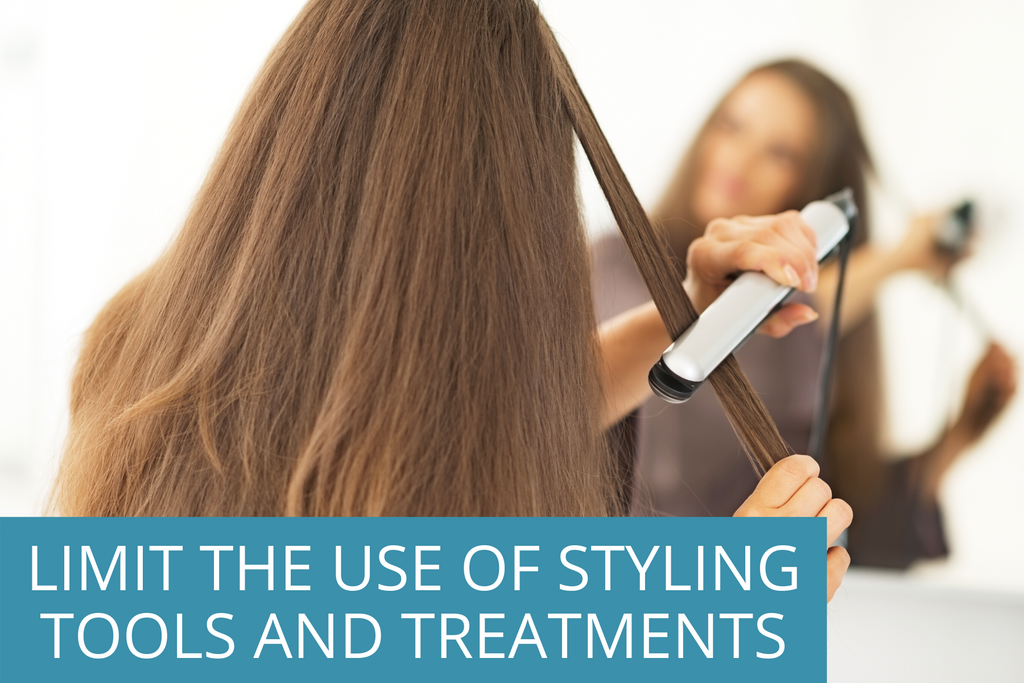 """teenager styling her hair with a straightener, with the overlay text stating, """"limit the use of styling tools and treatments."""""""
