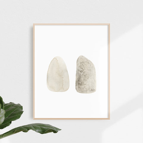 Two Stones – Natural Watercolour Art Print