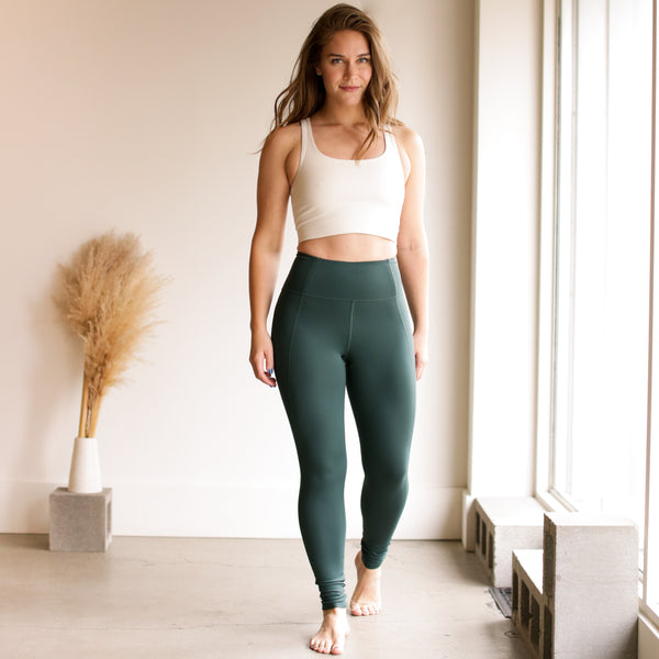 High Rise Classic Compressive Leggings - Moss
