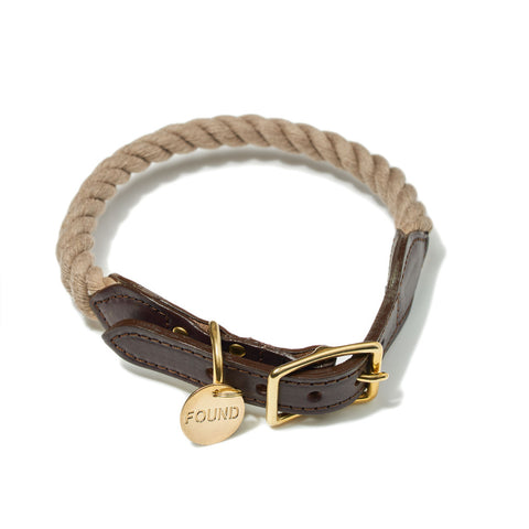 Dark Tan Rope Dog Collar