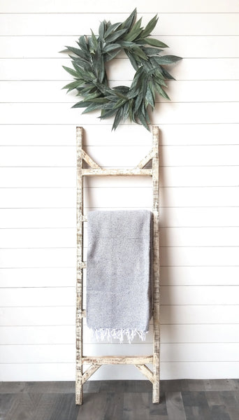 Farmhouse Blanket Ladder 5 Foot Blanket Ladder Rustic White