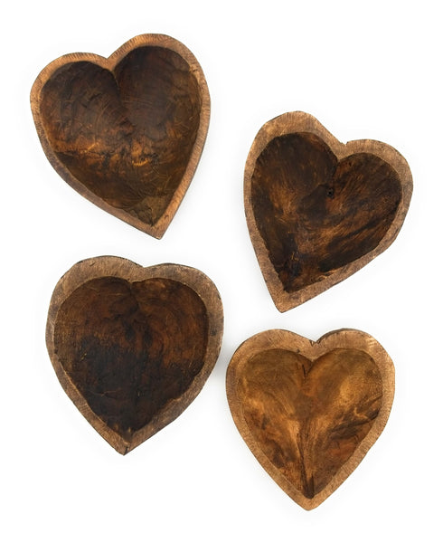 "5""- 6"" Itty Bitty Wood Heart Bowl + Wooden Flower Bowl Filler"