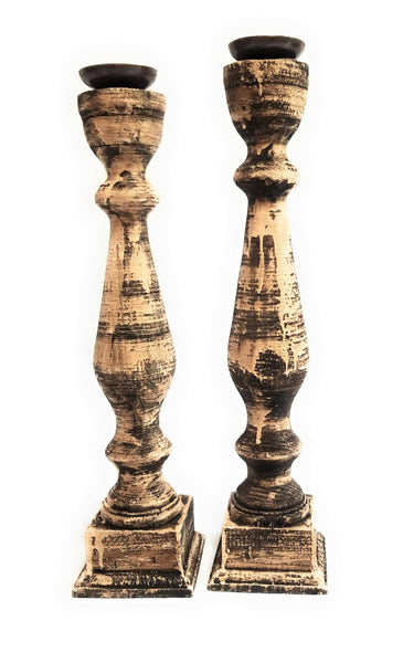 Candle Holder Set of 2 Wooded Candle Holders, Rustic Wooden Candle Holders