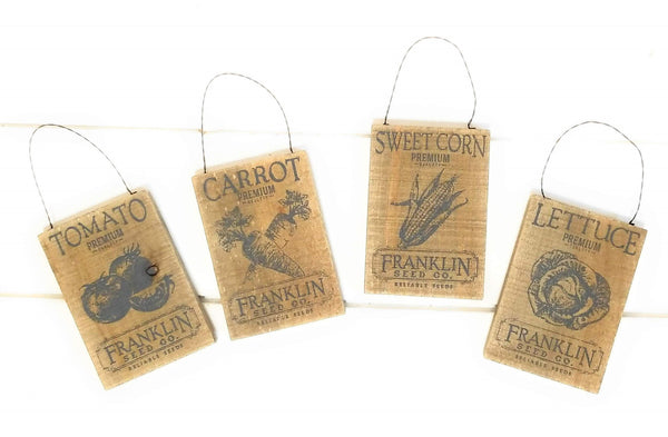 christmas ornament Small Vegetable Seed Packet Ornaments- Four To Choose From