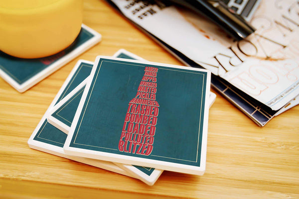 Coasters Drunk Typography - Beer Bottle Ceramic Coasters- Set of 4