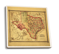 Coasters Texas 1866 - Panoramic Map Ceramic Coasters