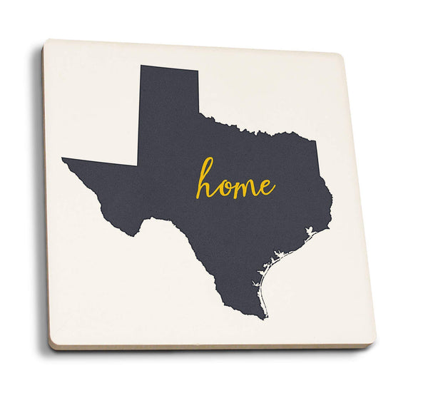 Coasters Texas - Home State - Gray on White  - Ceramic Coasters- Set of 4