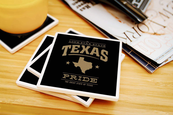 Coasters Texas State Pride - Gold on Black Ceramic Coasters- Set of 4