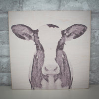 "Cow Decor Wood Print - Dairy Cow Farmhouse Rustic Wood Print- 12""X 12"" Cow Sign"