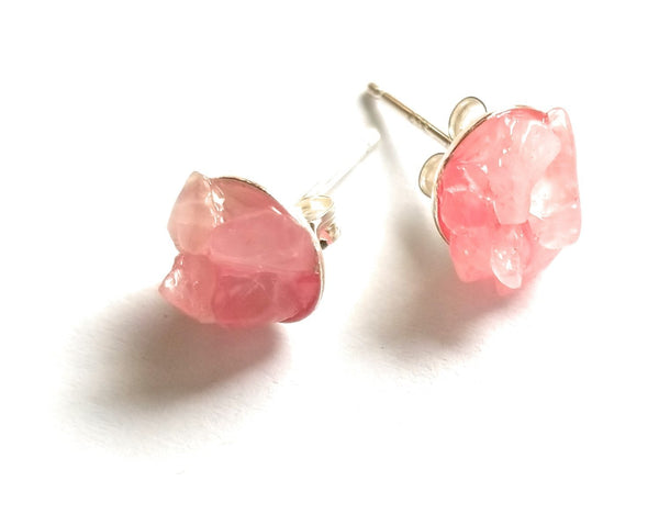 earrings Rose Quartz Stud Earrings - 8mm Sterling Silver