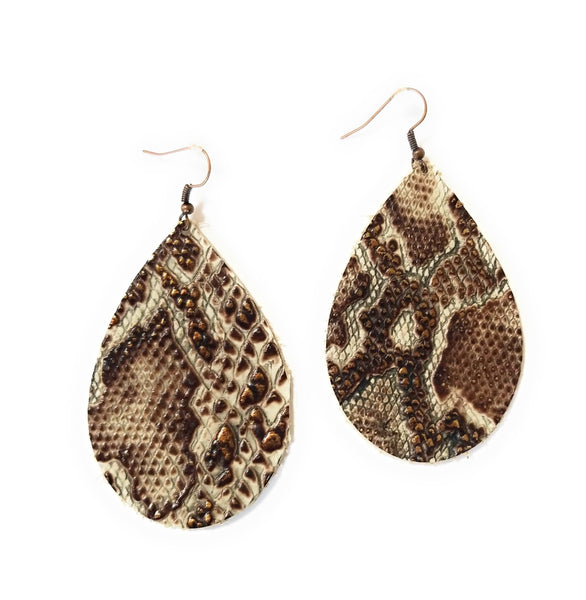 earrings Leather Teardrop Earrings in Bronze Python Two Sizes
