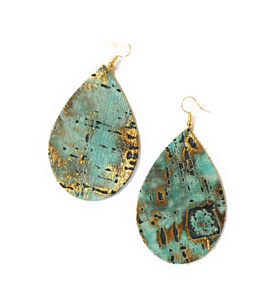 earrings Large Turquoise Leather Teardrop Earrings