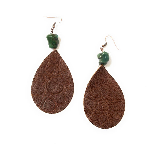 earrings Brown Gator Leather Teardrop Earrings w/ Natural Turquoise