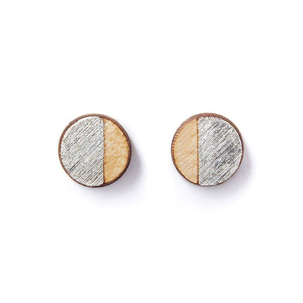earrings Maple Wood Silver Round Studs