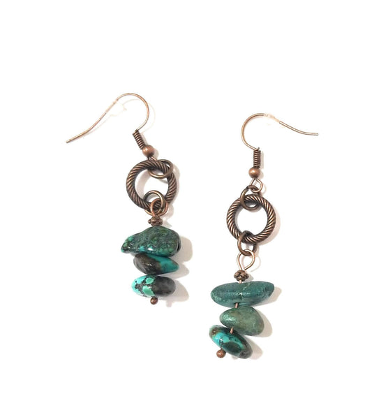 earrings Natural Turquoise Stacked Gemstone Earrings