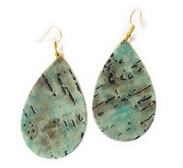 earrings Turquoise Leather Teardrop Earrings- Small