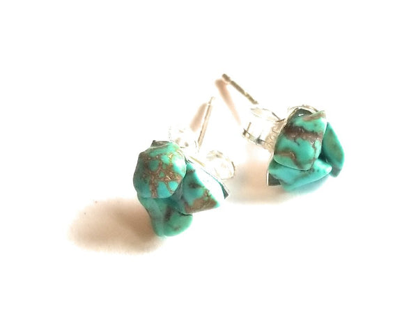 earrings Turquoise Raw Gemstone Stud Earrings - 5mm Sterling Silver