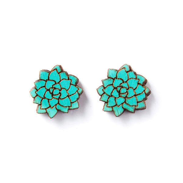 earrings Wood Flowers Studs - Teal- Earrings