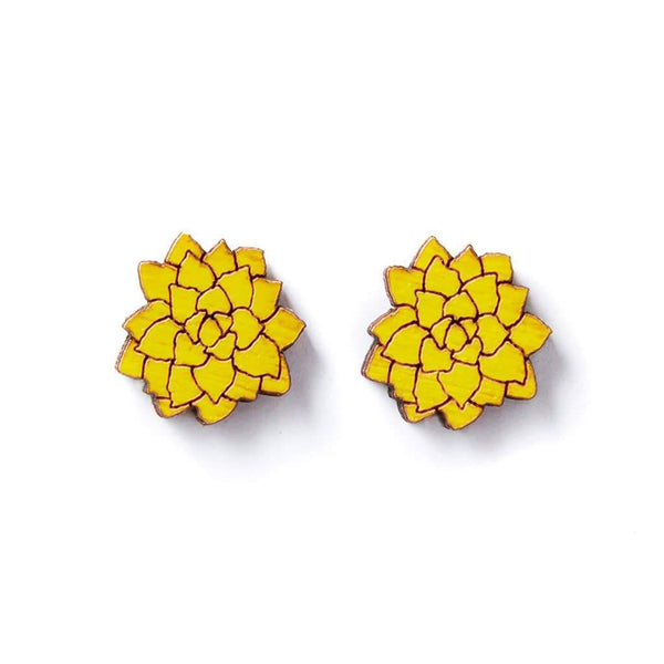 earrings Wood Flowers Studs - Yellow Earrings