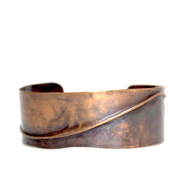 Jewelry Bracelet Lou Horton Sculpture - The Wave Copper Cuff
