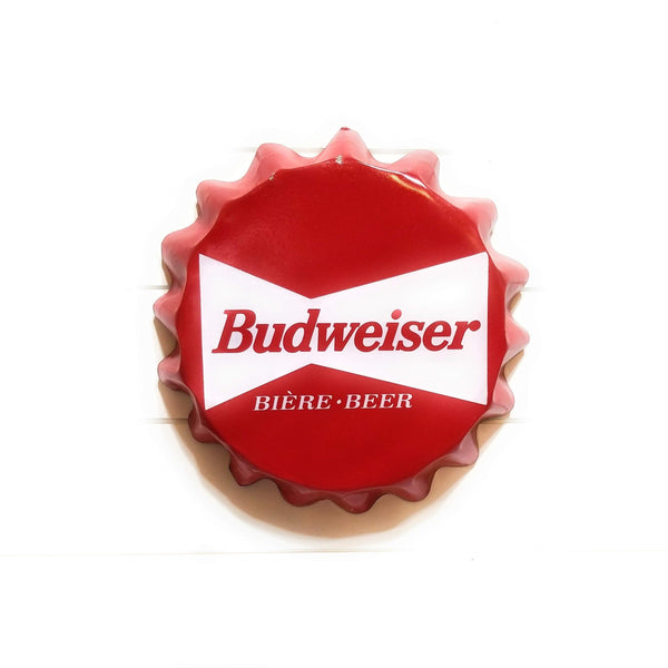 Metal Sign Budweiser Beer Bottle Cap Sign Metal Beer Sign