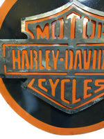 Metal Sign Harley Davidson Vintage Inspired Metal Sign- Large- Round Silver