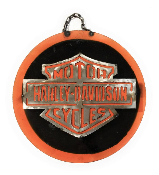 Metal Sign Harley Davidson Vintage Inspired Metal Sign- Medium- Round Silver