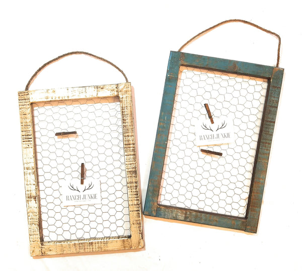 Picture-Christmas Card Holder-Chicken Wire Wood Hanging Window picture holderRanch Junkie