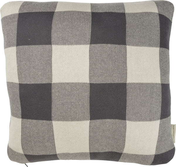 pillows Buffalo Check Dark Grey Pillow Knit Buffalo Check