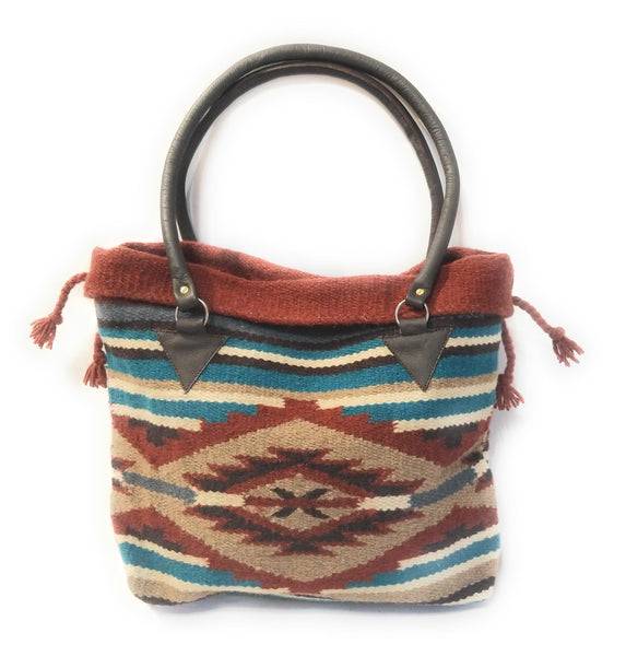 Southwestern Hand Woven 100% Wool Purse-Handbag- Boho Tote- The Arizona purseRanch Junkie