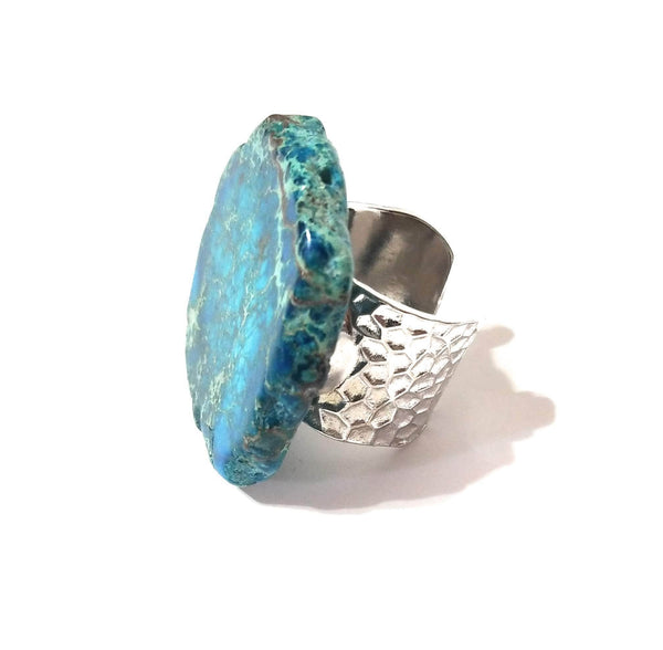 ring Blue Regalite Chunky Ring Turquoise Rings