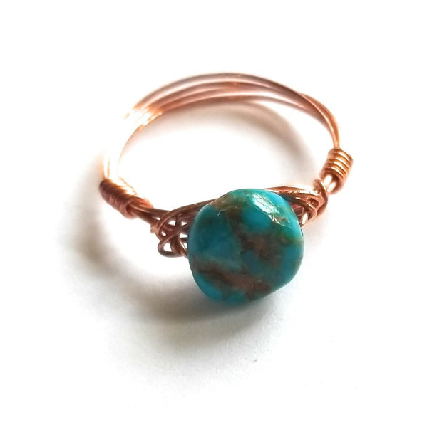 ring Copper Wire Wrapped Turquoise Ring- The Copper Canyon Ring
