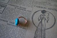 ring Gold Wire Wrapped Turquoise Ring- The Golden Turq