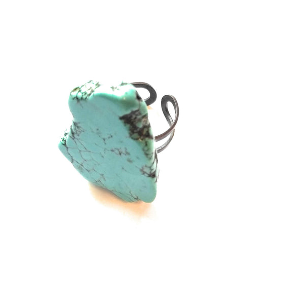 ring The Jewelry Junkie - Blue Turquoise Slab Ring
