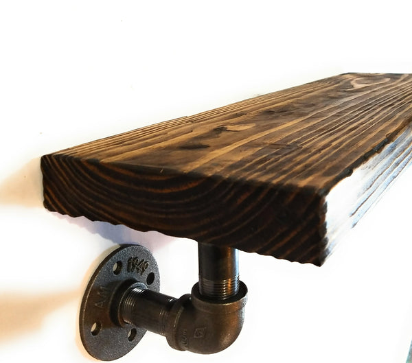 Hand-scraped Wood Pipe Farmhouse/Rustic Shelf ,Shelves- Free Shipping shelvesRanch Junkie