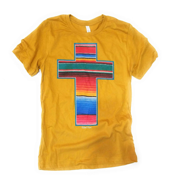 shirts Mustard Serape Cross Tee