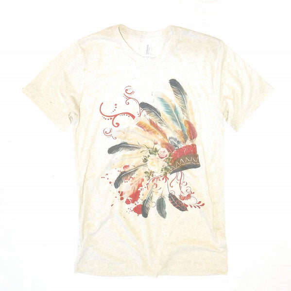shirts Southwestern Head Dress Tee- Heathered Biscuit
