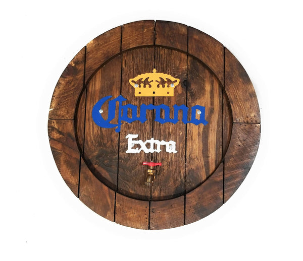 sign Corona Beer Large Wooden Barrel Sign with Spout- Beer Sign