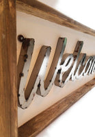 sign Large Welcome Wood and Metal Farmhouse Sign