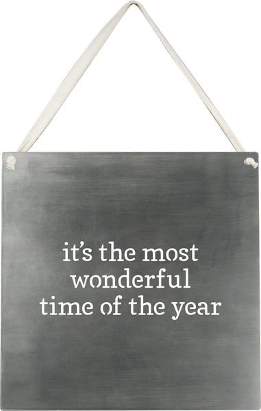 "sign Metal Wall Sign 10""X 10""- Most Wonderful Time Of The Year  Holiday Decor Christmas Decor"
