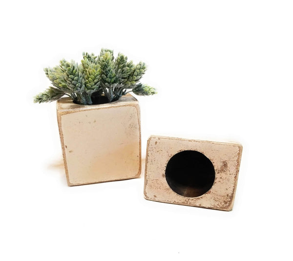 sugar mold candle holder Rustic Ivory Farmhouse 1 Hole Wooden Candle Holder- Sugar Mold Candle Holder One Hole-  Faux Succulent Planter