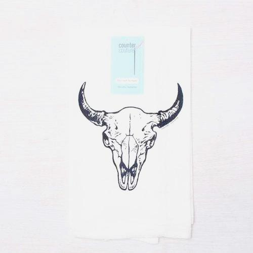 Buffalo Skull Tea Towel- Cow Skull-Dish Towel-Kitchen Towel tea towelsRanch Junkie