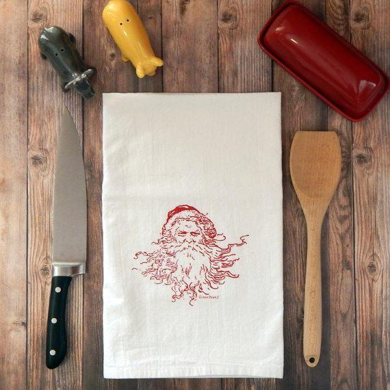 Vintage Santa Flour Sack Kitchen Towel - Kris Kringle | Red Ink tea towelsRanch Junkie