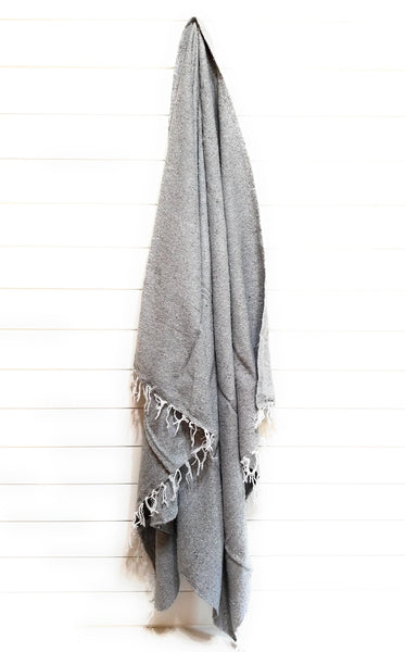 throw Solid Handwoven Throw Gray- Large Grey Throw Blanket